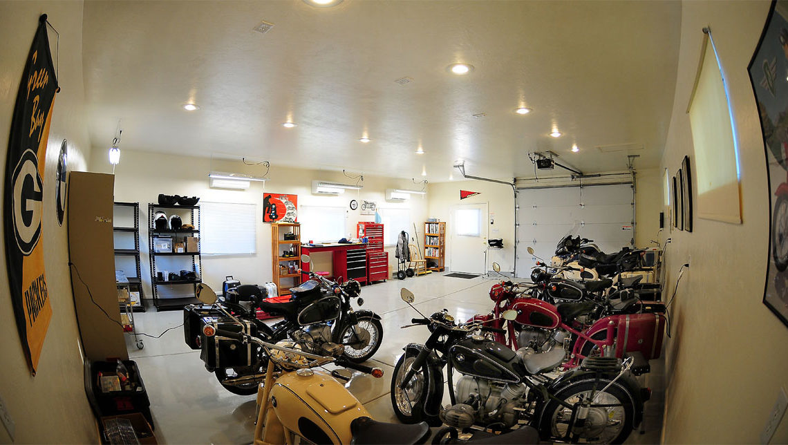 Man cave with motorcycles