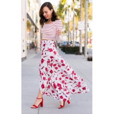 mix striped tee with floral skirt